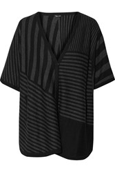 Splendid Striped Knitted Poncho Black