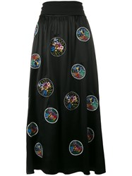 Fendi Embroidered Flower Skirt Black