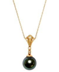 Belle De Mer 14K Gold Tahitian Pearl 8Mm And Diamond Accent Pendant Necklace