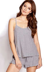 Forever 21 Pointelle Cami And Shorts Pj Set Heather Grey