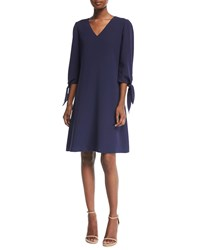 Lafayette 148 New York Kenna Split Sleeve Finesse Crepe Dress Raisin