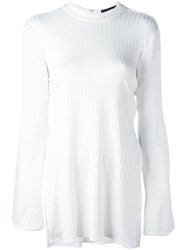 Ellery Ribbed Flared Sleeve Top Women Nylon Spandex Elastane Viscose 10 White