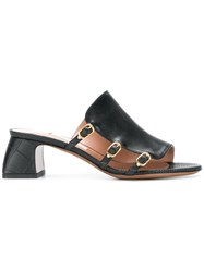 L'autre Chose Side Buckle Mules Black