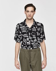 Obey Flash Button Up Shirt In Black Multi