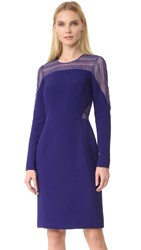 J. Mendel Round Neck Long Sleeve Dress Mulberry
