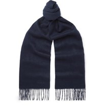 Paul Smith Fringed Cashmere Scarf Navy