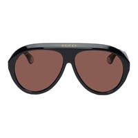 Gucci Black Guilloche Navigator Sunglasses
