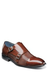 Stacy Adams Jennings Cap Toe Double Strap Monk Shoe Cognac Leather