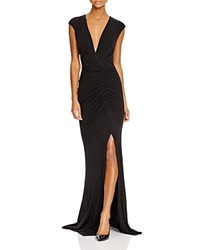 Abs By Allen Schwartz V Neck Ruched Matte Jersey Gown Black