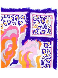 Emilio Pucci Abstract Floral Print Scarf Pink And Purple