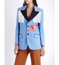 Gucci Fringed Heart Applique Tuxedo Jacket Blue