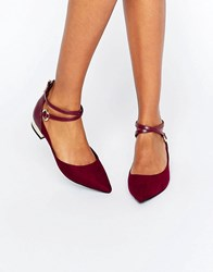 Aldo Biacci Ankle Strap Plated Heel Flat Shoes Bordo Red