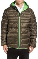 Psycho Bunny Men's 'Wales' Water Resistant Down Puffer Jacket Truffle Parrot