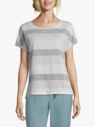 Betty And Co. Stripe Top White Silver