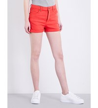 Fiorucci The Patty High Rise Denim Shorts Red