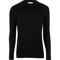 River Island Mensblack Chunky Ribbed Muscle Fit Sweater