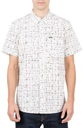 Volcom Men's Invert Geo Cotton Blend Woven Shirt Cloud