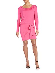 Haute Hippie Cowlneck Open Back Blouson Dress Fuchsia