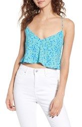 Afrm Kyla Crop Top Blue Ditsy