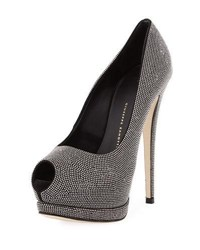 Giuseppe Zanotti Beaded Peep Toe High Pump Black Multi