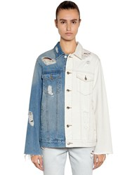 Sjyp Distressed Two Tone Denim Jacket White Blue