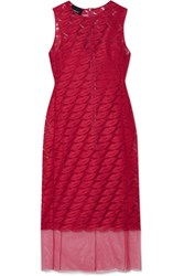 Akris Embroidered Tulle And Silk Dress Pink