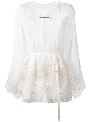 Ermanno Scervino Sheer Lace Blouse Nude Neutrals