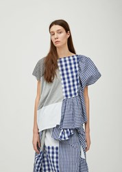 Zucca Cotton Patchwork Gingham Top White