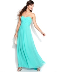 Xscape Evenings Xscape Strapless Ruched Cutout Gown Mint