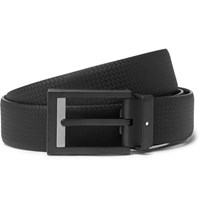 Montblanc 3Cm Black Textured Leather Belt Black