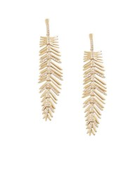 Bcbgmaxazria Feather Glitz Drop Earrings Gold