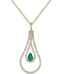 Macy's Emerald 3 8 Ct. T.W. And Diamond 3 8 Ct. T.W. Pendant Necklace In 14K Gold