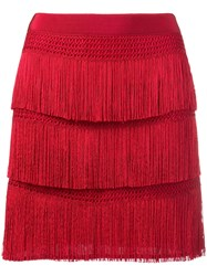 Alberta Ferretti Fringe Skirt Red