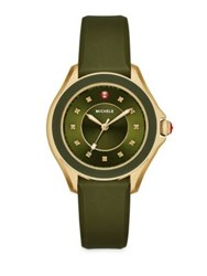 Michele Cape 18 Diamond Goldtone Stainless Steel And Silicone Strap Watch Green Green Olive