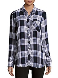Beach Lunch Lounge Long Sleeve Plaid Shirt Black Multi