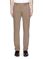 Altea Slim Fit Cotton Blend Pants Brown