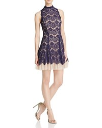 Aqua Lace Mockneck Dress Navy Nude