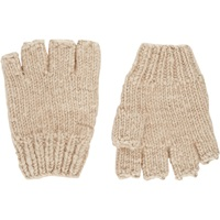 Knit Fingerless Gloves Lt.Brown
