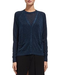 Whistles Sparkle Cardigan Blue