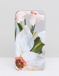 Ted Baker Iphone Mirror Case In Chatsworth Bloom Mid Grey Multi