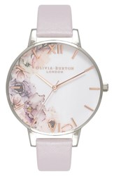 Olivia Burton 'S Watercolour Florals Leather Strap Watch 38Mm Grey White Floral Silver