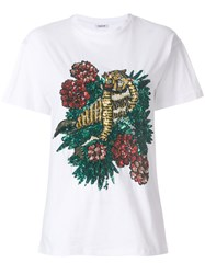 P.A.R.O.S.H. Tiger Embroidered T Shirt Cotton Pvc Xs White