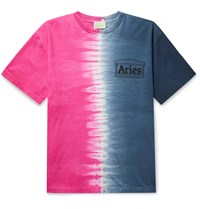 Aries Logo Print Tie Dyed Cotton Jersey T Shirt Blue