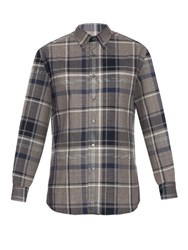 Brioni Checked Cotton Shirt Blue Multi