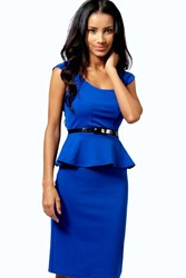 Boohoo Peplum Belted Midi Dress Cobalt
