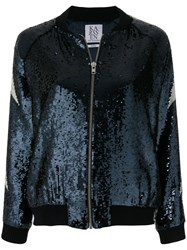 Zoe Karssen Slogan Sequin Bomber Jacket Blue