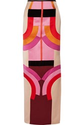 Tom Ford Velvet Trimmed Color Block Silk Satin Maxi Skirt Pink