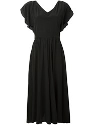 Max Mara Frill Sleeve Dress Women Silk 44 Black