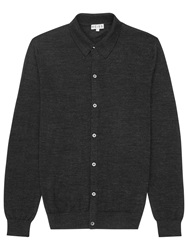 Reiss Watts Oracle Wool Polo Cardigan Charcoal