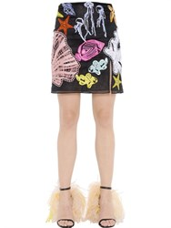 Emilio Pucci Sea Embroidery Cotton Organza Mini Skirt